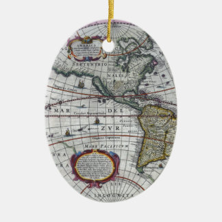 old map Americas Ceramic Ornament