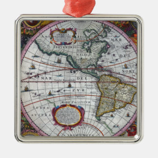 old map Americas Metal Ornament