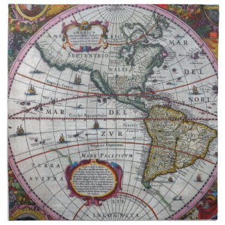old map Americas Napkin