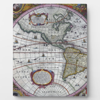 old map Americas Plaque