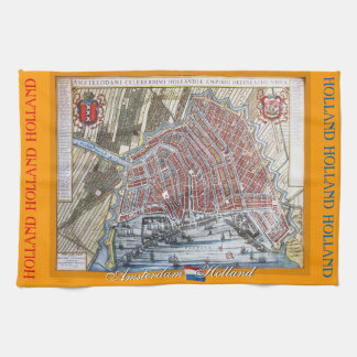 Old Map Amsterdam Holland Tea Towel