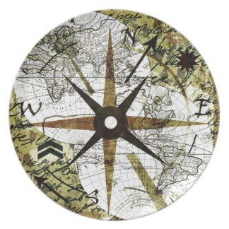 Old map dinner plate