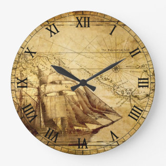Old Map Navigation Wall Clock