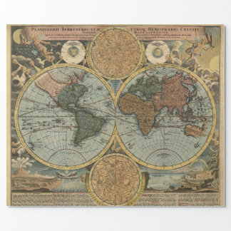 Old Map of Ancient World Vintage Cartography Wrapping Paper