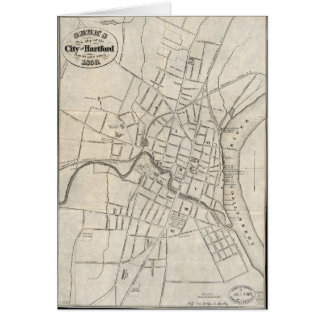 Old Map of Hartford, Connecticut (1859) Card