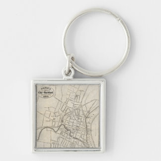 Old Map of Hartford, Connecticut (1859) Key Ring