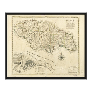 Old Map of Jamaica (1770) Gallery Wrapped Canvas