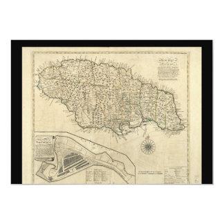 Old Map of Jamaica (1770) 13 Cm X 18 Cm Invitation Card