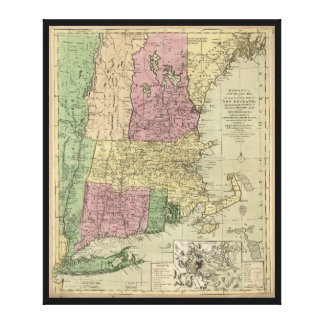 Old Map of New England (circa 1780) Canvas Print