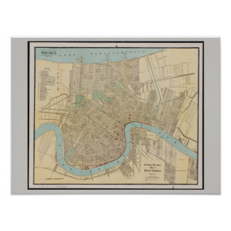 Old Map of New Orleans, LA Poster