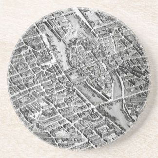 Old map of Paris Drink Coaster