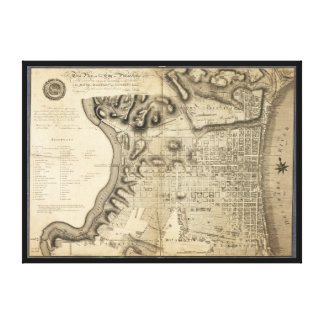 Old Map of Philadelphia Pennsylvania from 1796 Stretched Canvas Prints