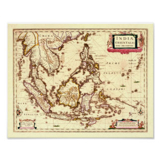 Old Map of South East Asia - poster
