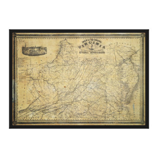 Old Map of the State of Virginia (1864) Stretched Canvas Print
