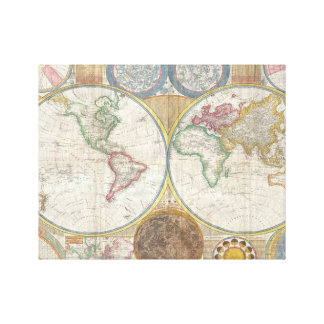 Old Map Of The World Gallery Wrapped Canvas