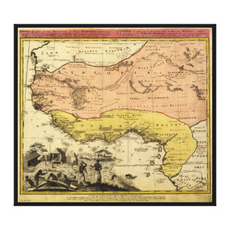 Old Map of West Africa circa 1743 Canvas Print