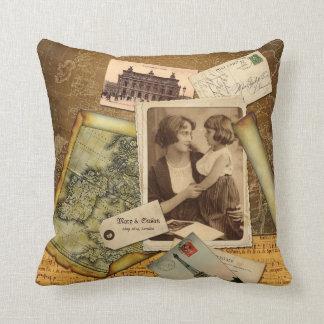 Old Map Postcard Paper Collage Vintage Photo Frame Cushion