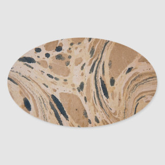 Old marbled texture oval sticker
