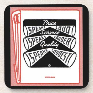 old matchbook cover Price Speaks Loud Coaster