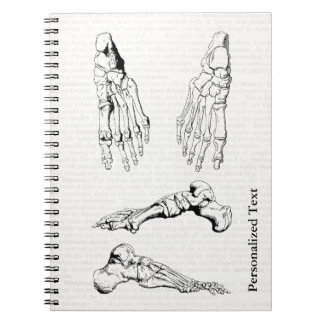 Old Medical Art Human Anatomy Bones of the Foot Spiral Notebook