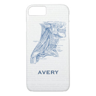 Old Medical Drawing Muscles of the Neck Blue iPhone 7 Case