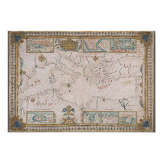 Old Mediterranean sea map Poster