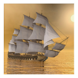 Old merchant ship - 3D Render Acrylic Wall Art