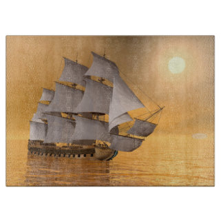 Old merchant ship - 3D Render Cutting Board