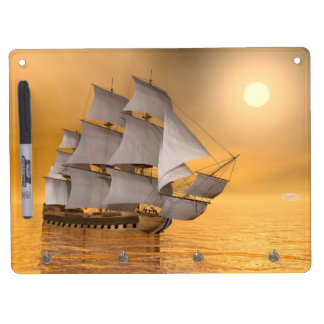 Old merchant ship - 3D Render Dry Erase Board With Key Ring Holder
