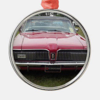 Old Mercury Cougar red Classic antique car Metal Ornament