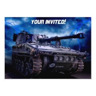 Old military tank 13 cm x 18 cm invitation card
