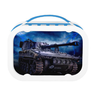 Old military tank lunch boxes