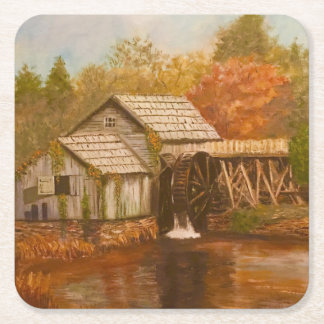 Old Mill In Autumn Square Paper Coaster