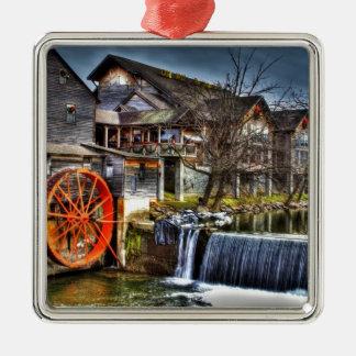 Old Mill Silver-Colored Square Decoration
