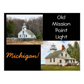 Old Mission Point Light Michigan Postcard