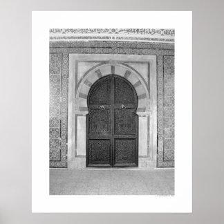 Old Mosque Door (B&W) Poster