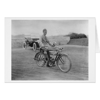 Old Motorcycle with Lantern Headlight Greeting Card