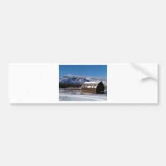 Old mountain farm in winter bumper sticker