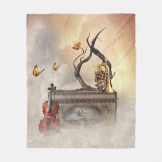 Old Music Instruments Fleece Blanket