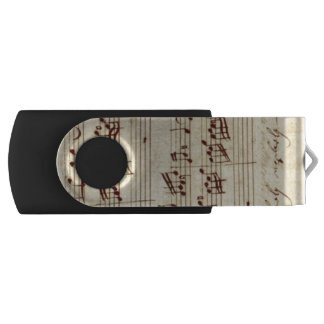 Old Music Notes - Bach Music Sheet Swivel USB 2.0 Flash Drive
