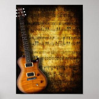 Old Music Sheet Guitar Poster