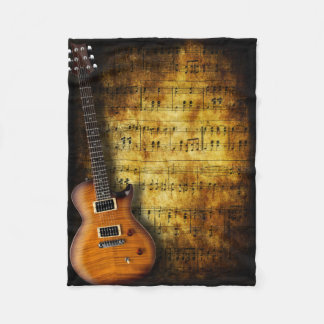Old Music Sheet Guitar Small Fleece Blanket