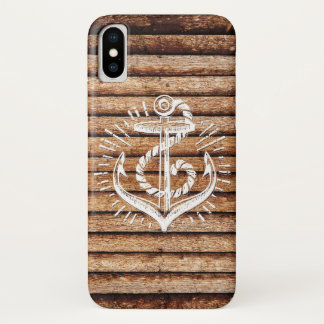Old Nautical Anchor Wood iPhone X Case