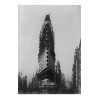 Old NYC Flat Iron Building Construction Photograph Poster