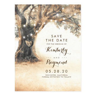 Old Oak Tree and Carved Heart Save the Date Postcard
