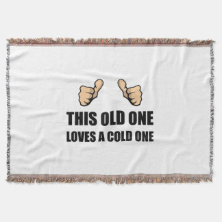 Old One Loves Cold One Throw Blanket