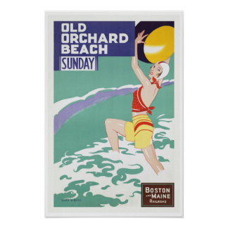 Old Orchard Beach, Maine - Vintage Travel Art Poster