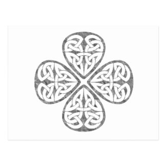 old paint shamrock celtic knot post card