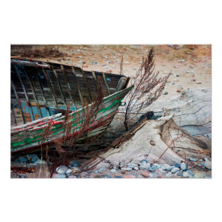 Old Painted Wood Boat Abandoned on Beach Poster