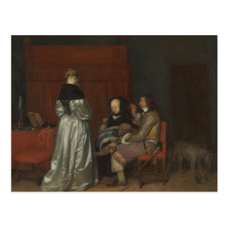 Old painting conversation Borch Postcard